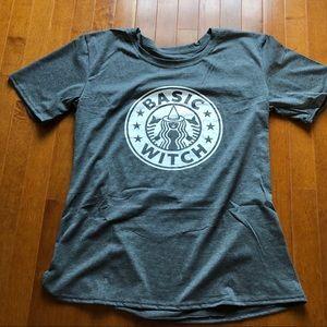 Dark gray crewneck Basic Witch graphic T-shirt XL